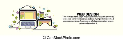 Web Design Development Concept Horizontal Banner With Copy Space