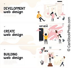 Web design development concept on horizontal banners set.