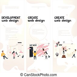 Web design development concept on vertical banners set.