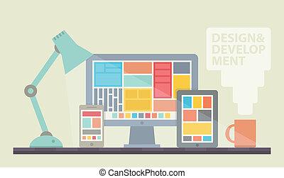 Web design development illustration - Flat design vector...