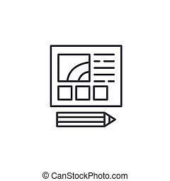 Web design development linear icon concept. Web design development line vector sign, symbol, illustration.