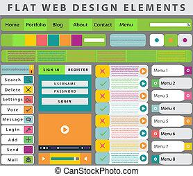 Web Design elements, buttons, icons
