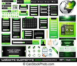 Web design elements extreme collection BlackGreen