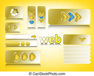 Web design elements, website buttons collection eps10