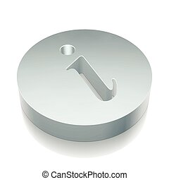 Web design icon: 3d metallic Information with reflection, vector illustration.