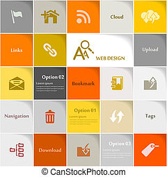 Web design icon set vector abstract background