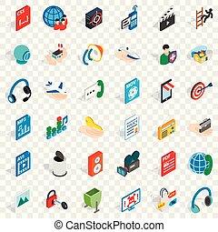 Web design icons set, isometric style