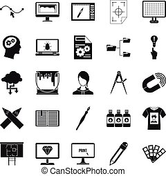 Web design icons set, simple style