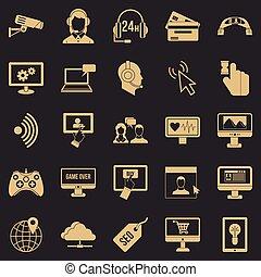 Web design icons set, simple style