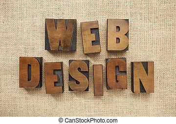 web design in wood type blocks