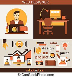 Web design infographic. - Business colorful icons on a grey...