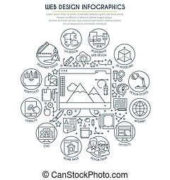 Web Design Infographics Thin Line