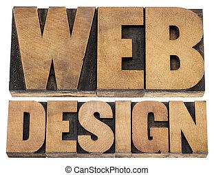 web design letterpress wood type
