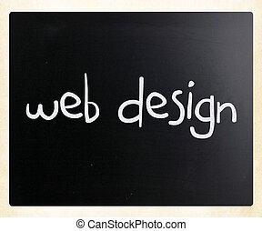 """""""web, design"""", manuscrito, com, branca, giz, ligado, um, quadro-negro"""