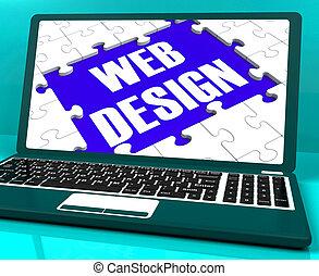 Web Design On Laptop Showing Creativity
