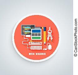 Web design on round banner