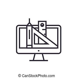 web design, pen, ruler, tools concept vector thin line icon, symbol, sign, illustration on isolated background