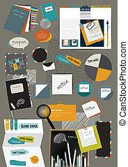 Web design portfolio elements. Collection of color stickers,...