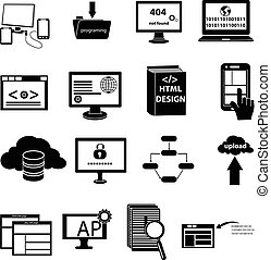 web design programming icons set