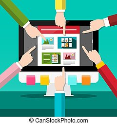 Web Design Project on PC Computer with Human Hands. Vector Flat Design Illustration.