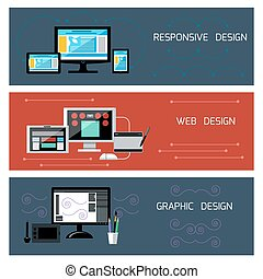 Web design, responsive and graphic design - Icons for web...