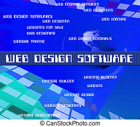Web Design Software Represents Programming Words And Network...