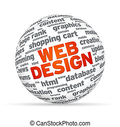 Web Design Sphere - 3D Sphere with the word on white...