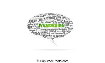 Web design - Spinning animated Webdesign Speech Bubble.