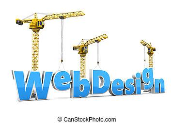 web design - 3d illustration of text web design and cranes,...