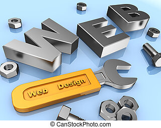 Web design: www, screws, bolts and wrench with yellow handle