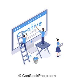 Web design studio vector isometric illustration. Graphic designer creating homepage, mobile app interface, searching ideas and solutions isolated clipart. UI, UX development 3d drawing