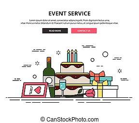 Web design template. thin line icons. event organization.