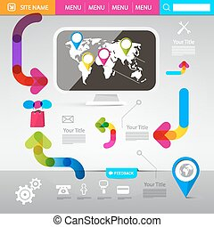 Web Design Template - Vector Technology Infographics with Computer and Colorful Arrows