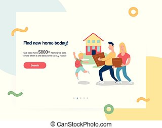 Web design template vector with family moving new house