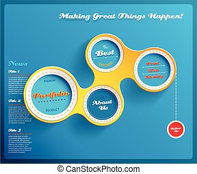 Web design template with circles on blue background. Vector Illustration.