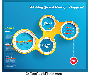 Web design template with hexagons on blue background. Vector Illustration.