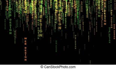 Web design text matrix style concept