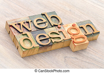 web design word abstract in wood type