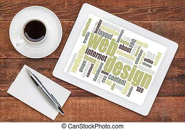 web design word cloud on tablet
