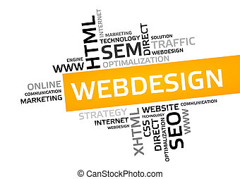 WEB DESIGN word cloud, tag cloud, vector graphic