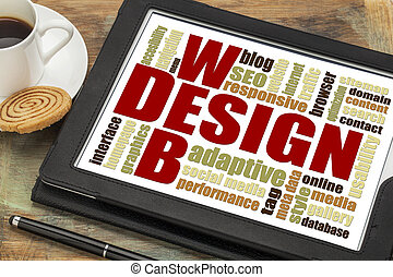 web design word cloud - website development concept - web...