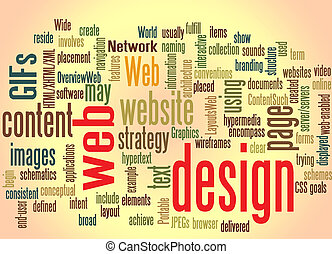 web design word cloud with effects
