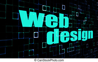 Web design word on digital background