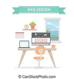 Web design workplace.