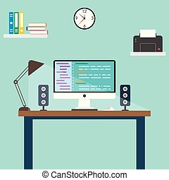 Web designer and programmer workspace in the office