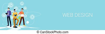 Web Designer Business People Team Working Banner With Copy Space