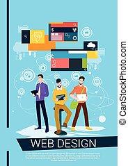 Web Designer Business People Team Working Flat Vector...