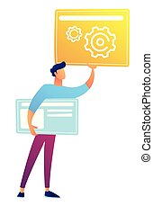 Web designer holding web pages with gears and lines vector...