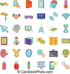 Web designer icons set, cartoon style - Web designer icons...