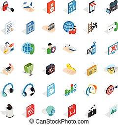 Web designer icons set, isometric style - Web designer icons...